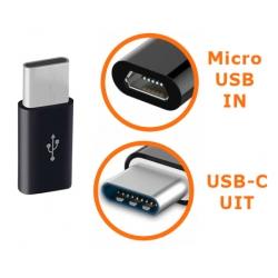Zwarte connector van Micro USB naar USB-C ingang adapter verloopje