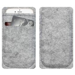 Grijs grijze wollen vilt hoesje inch voor de smartphone met pinpas vak