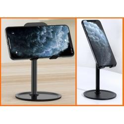 Aluminium houder voor de smartphone en tablet voor op het bureau die draaibaar kantelbaar is