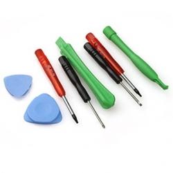 Gereedschapset kruiskop en platte schroevendraaier, Torx T5, Torx T6, PCB umount bars, tooltje om de behuizing te openen