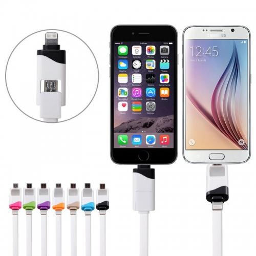 Twee in een oplaad kabel met lightning aansluiting en Micro USB aansluiting