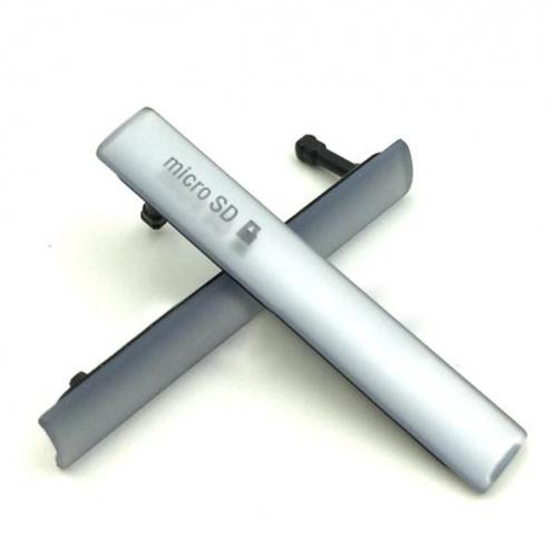 Afdek klepjes en stofkapjes voor de Sony Xperia Z3, set van twee stuks, in de kleur zilver