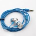 Blauwe stereo headset oortjes met 3,5mm aansluiting om muziek te luisteren op de smartphone en tablet