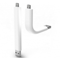 Witte handige korte flexibele en buigbare kabel van gewone USB naar MicroUSB aansluiting