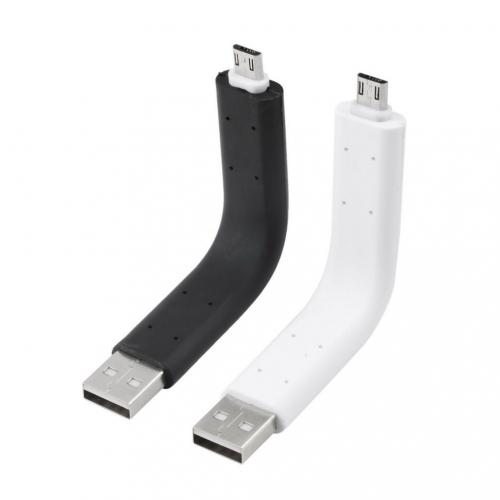 Flexibele buigbare kabel om de smartphone met Micro USB aansluiting op te laden in het zwart of wit