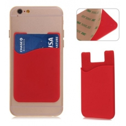 Rode pinpas houder voor een pasje voor op de achterkant van de smartphone of telefoon
