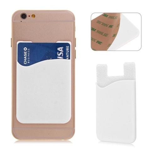 Witte houder voor een pasje voor op de achterkant van de smartphone of telefoon