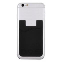 Zwarte zelfklevende houder voor een pasje voor op de achterkant van de smartphone of telefoon