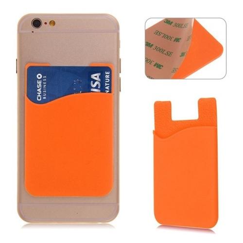 Zelfklevende oranje houder voor pasjes voor op de achterkant van de smartphone