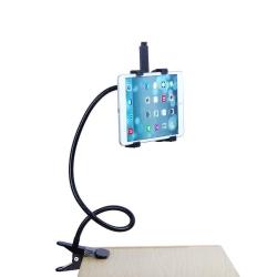 Tablethouder met klem om te bevestigen aan het bureau of bed