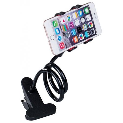 Houder voor de telefoon voor aan het bed, bureau, nachtkastje, tafel of auto in de kleur zwart
