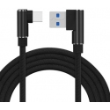 USB C kabel met connectoren in een haakse hoek