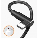 USB C kabel in een haakse hoek tegen knakken