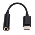 Zwarte USB-C adapter voor de koptelefoon